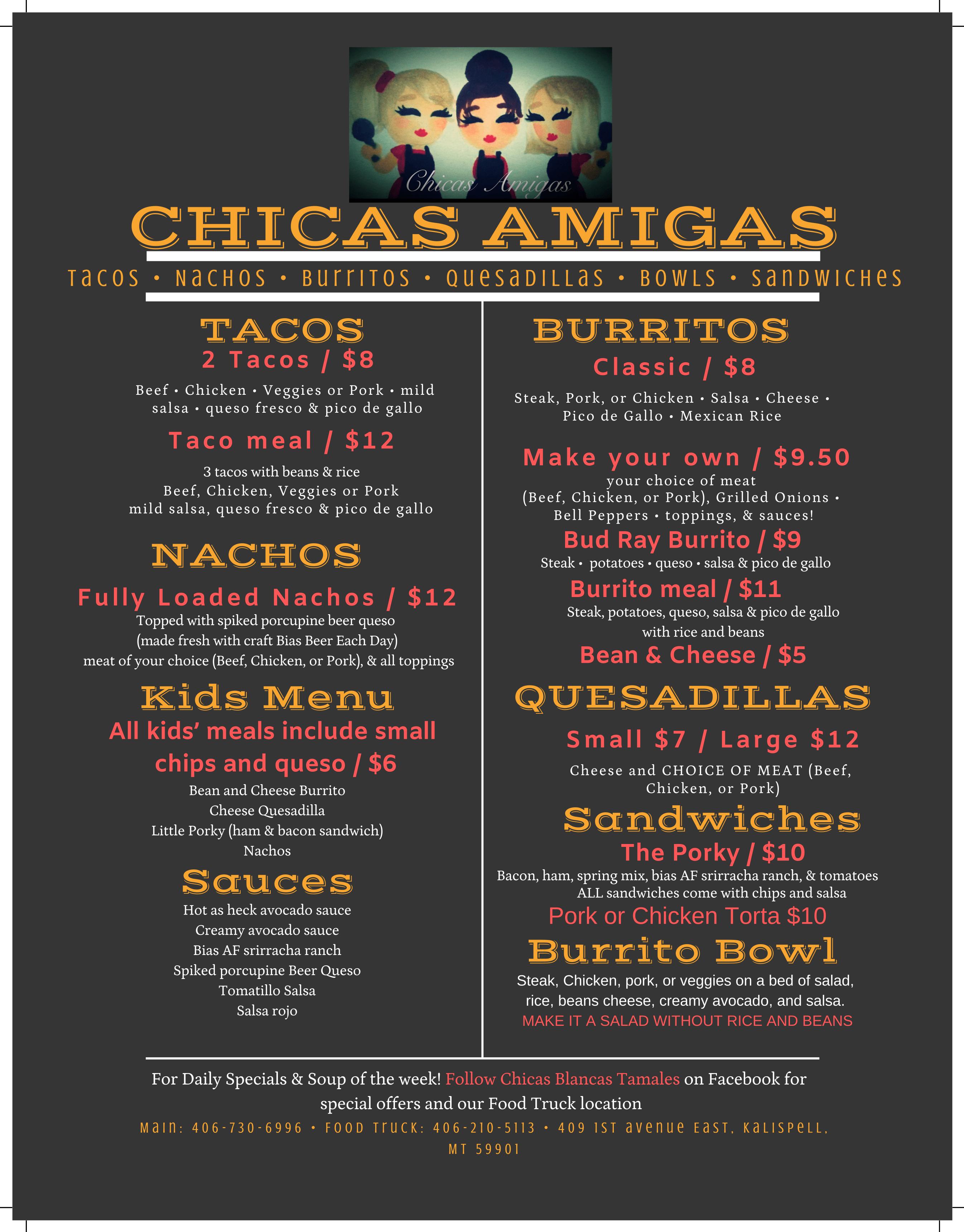 Menu for Chicas Amigas Restaurant of Kalispell, Montana
